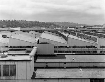 Boeing Plant 2: Detail of roof of 2-40 from building 2-25.  HAER WA-189-7.  Photo from 2009.