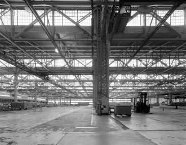 Boeing Plant 2 - Looking NE towards front from near column C-11 of Building 2-40.  HAER WA-189-29.  Photo from 2009.