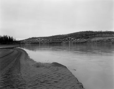 TANANA RIVER BRIDGE, MILE 1303.3 ALASKA HIGHWAY, South side elevation of bridge from river bar, looking N.  Photo from 2005