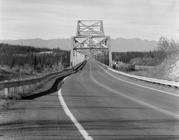 TANANA RIVER BRIDGE, MILE 1303.3 ALASKA HIGHWAY, Elevation of east end of bridge from E, with scale.  Photo 2005