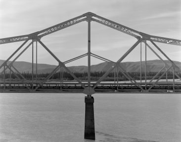 TANANA RIVER BRIDGE, MILE 1303.3 ALASKA HIGHWAY, North side elevation of east pier from river bluff.  Photo from 2005.