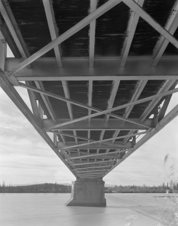 TANANA RIVER BRIDGE, MILE 1303.3 ALASKA HIGHWAY, Under bridge, near east end, looking W.  Photo 2005.